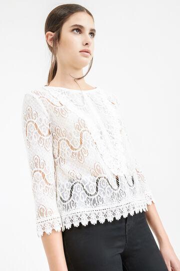 Cotton blend openwork lace blouse, Milky White, hi-res