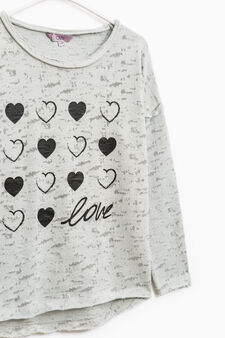 Printed cotton sweatshirt with raw edges, Light Grey, hi-res