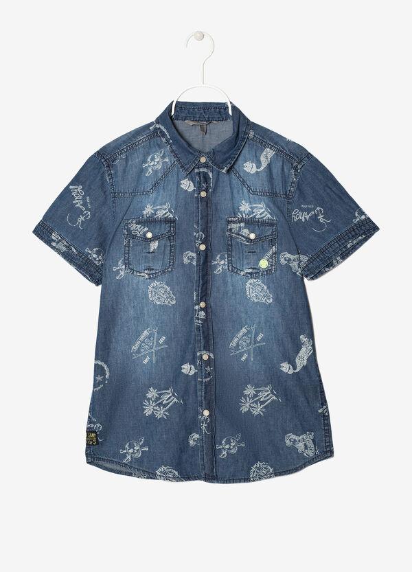 Denim shirt with yoke.   OVS