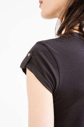 T-shirt girocollo puro cotone, Nero, hi-res