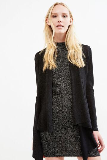 Viscose and lurex blend cardigan, Black, hi-res