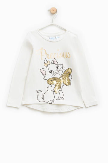 T-shirt with The Aristocats glitter print, Milky White, hi-res