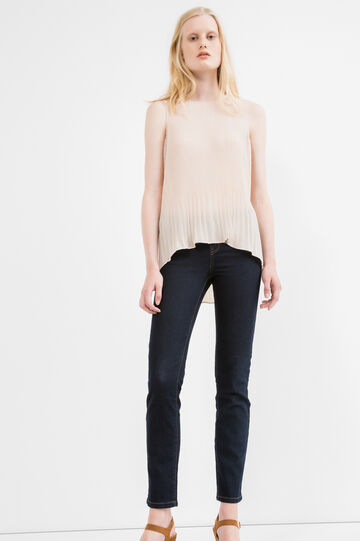 Solid colour ribbed top with round neck, Pink, hi-res
