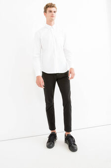 Solid colour regular-fit casual shirt, White, hi-res