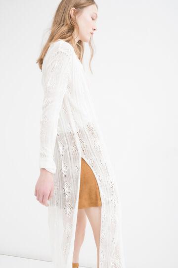 Long viscose blend cardigan., Milky White, hi-res