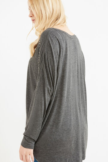 Curvy T-shirt with beads in 100% viscose, Slate Grey, hi-res