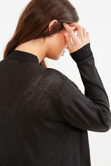 Curvy viscose blend cardigan with lurex, Black, hi-res