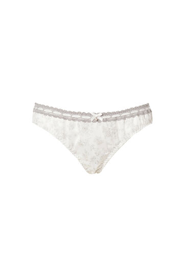 Lace trim briefs with bow, White/Grey, hi-res