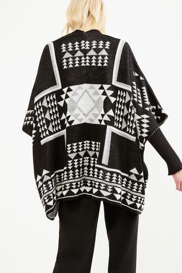 Mantella tricot fantasia etnica, Nero, hi-res