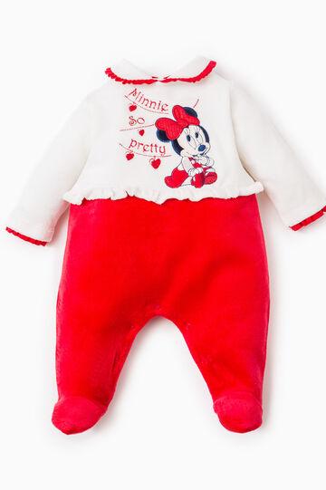 Tutina con volants e patch Baby Minnie, Bianco/Rosso, hi-res