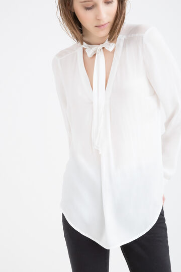 Solid colour blouse with neck ties, Milky White, hi-res