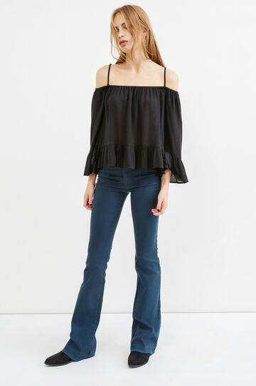 Pantaloni flare fit cotone stretch, Blu navy, hi-res