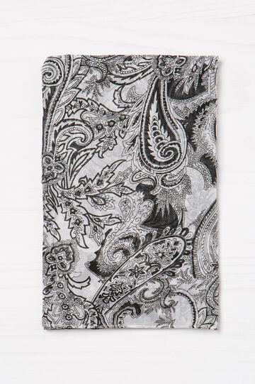 Paisley print scarf, White/Black, hi-res
