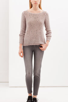 Pullover with boat neck, Pink, hi-res