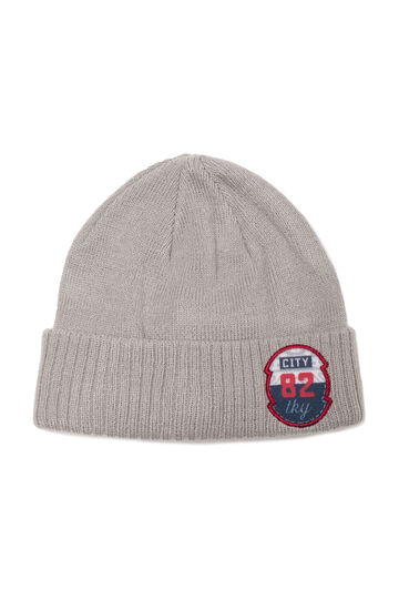 Beanie cap with patches, Grey, hi-res