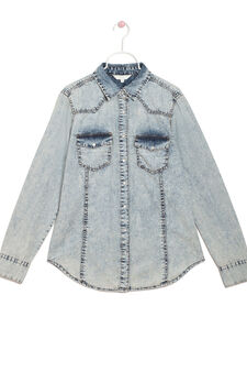 Denim shirt with faded effect, Light Wash, hi-res