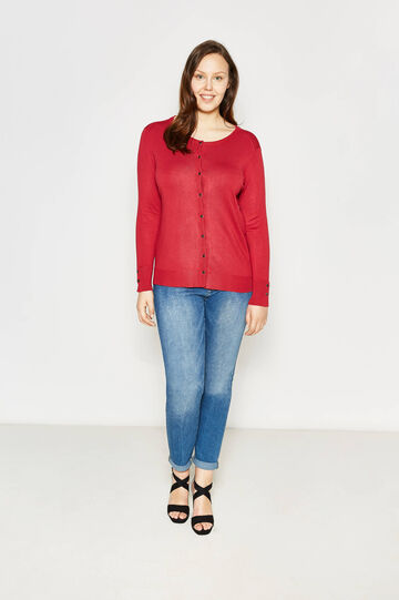 Curvy cardigan with round neck and buttons, Red, hi-res