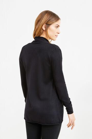 Viscose blend cardigan with diamantés, Black, hi-res