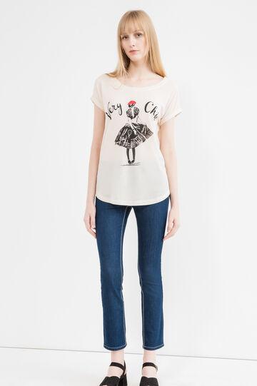 Printed linen blend T-shirt, Beige, hi-res