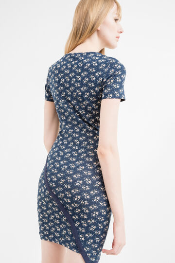 Stretch cotton dress with boat neck, Blue, hi-res
