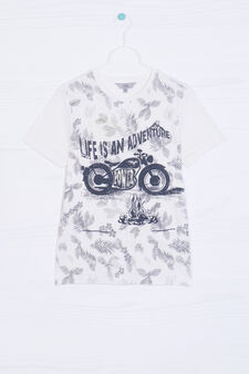 100% cotton T-shirt with print, White/Grey, hi-res