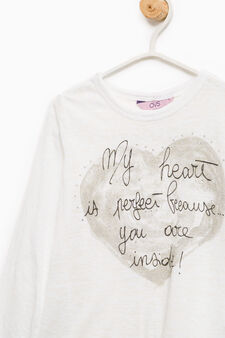 T-shirt in cotton with print and lace, Off-white, hi-res