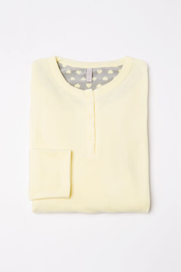 Solid colour fleece pyjama top, Canary Yellow, hi-res