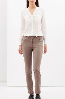 Pantaloni stretch tinta unita, Beige scuro, hi-res
