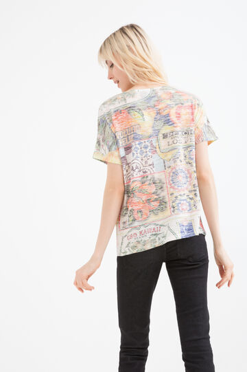 Viscose blend patterned T-shirt