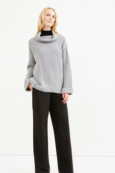 Chunky knit pullover with high neck, Grey, hi-res