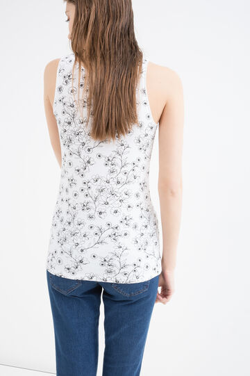 Floral top in 100% cotton, White/Black, hi-res