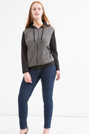Patterned Curvy hoodie, Black/Grey, hi-res