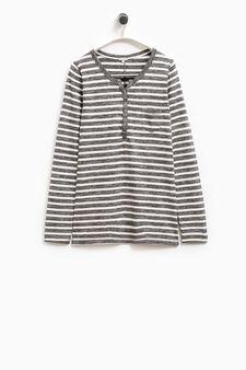 Smart Basic striped stretch T-shirt, White/Grey, hi-res