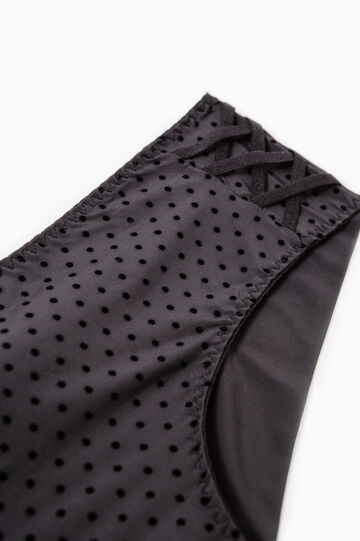 Polka dot pattern stretch French knickers, Black, hi-res