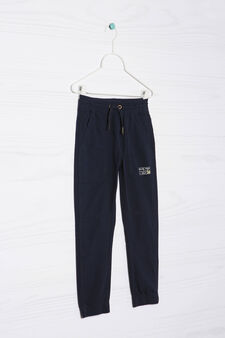 100% cotton trousers with patch, Navy Blue, hi-res