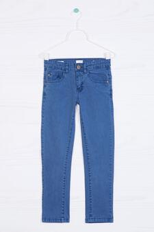 Pantaloni cinque tasche stretch, Blu avio, hi-res