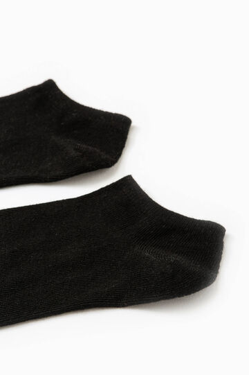 Solid colour stretch cotton socks, Black, hi-res