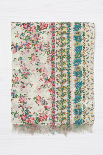 Floral print scarf with fringe, Multicolour, hi-res
