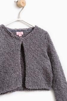 Solid colour knitted shrug, Dark Grey, hi-res