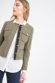 100% cotton jacket with buttons and zip, Green, hi-res