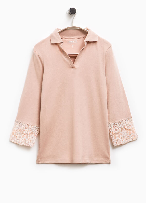 Smart Basic polo shirt with lace at the cuffs | OVS