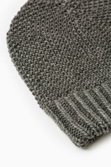 Solid colour knit beanie, Grey Marl, hi-res