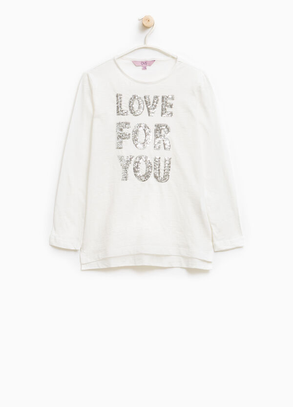 Long-sleeved T-shirt with sequins | OVS