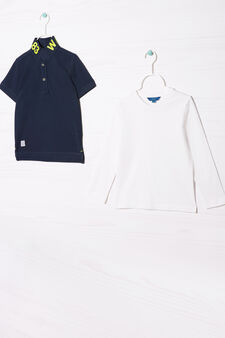 Cotton polo shirt and T-shirt outfit, White/Blue, hi-res