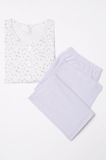 Pyjamas in 100% cotton with floral top