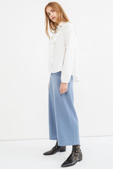 Pantaloni a zampa tinta unita, Blu, hi-res