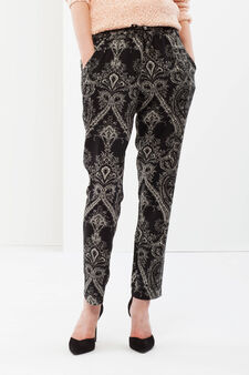Fantasy print trousers, Black, hi-res