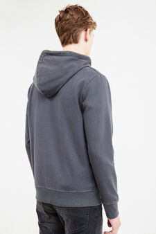 Mis-dyed effect cotton blend sweatshirt, Dark Grey, hi-res