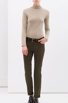 Plain stretch cotton trousers, Army Green, hi-res