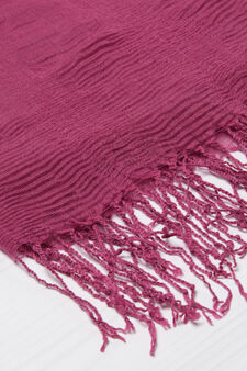 Solid colour pleated scarf, Purple, hi-res